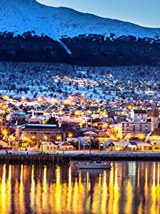 Bilder Argentinien Haus Fluss Winter Schiffsanleger Abend Straßenlaterne Ushuaia