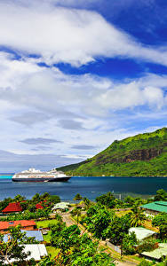 Hintergrundbilder Französisch-Polynesien Tropen Berg Küste Kreuzfahrtschiff Wolke Moorea Natur