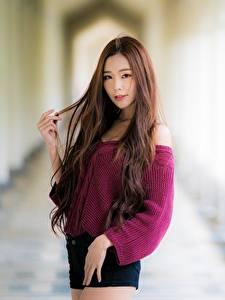 Fotos Asiatisches Unscharfer Hintergrund Braune Haare Starren Hand Sweatshirt junge Frauen