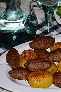 Hintergrundbilder Die zweite Gerichten Fleischwaren Kartoffel Teller