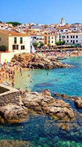 Bilder Spanien Resort Gebäude Küste Steine Calella Catalonia