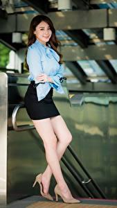 Fotos Asiaten Posiert Bein Rock Bluse Lächeln Braune Haare Schöne junge Frauen