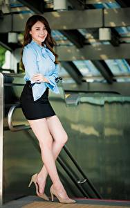 Picture Asiatic Posing Legs Skirt Blouse Smile Brown haired Beautiful female