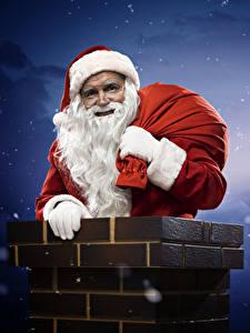 Fotos Nacht Mond Weihnachtsmann Mütze Bärtige Chimney