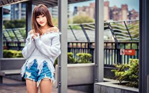 Hintergrundbilder Asiatisches Shorts Sweatshirt Starren Bokeh Mädchens
