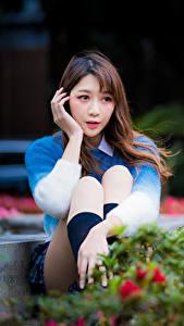 Hintergrundbilder Asiaten Unscharfer Hintergrund Sitzt Sweatshirt Braunhaarige Hand Mädchens