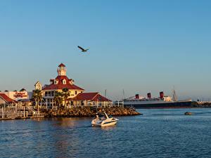 Fotos USA Küste Seebrücke Schiffe Kalifornien Bucht Rainbow Harbor Marina, Long Beach Natur