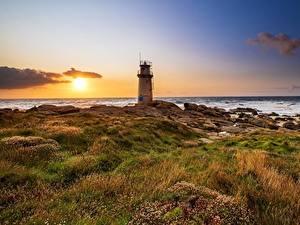 Fotos Morgendämmerung und Sonnenuntergang Küste Leuchtturm Spanien Sonne Galicia
