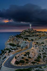 Wallpaper Spain Majorca Mallorca Sea Evening Lighthouses Roads Sonnenaufgang Nature