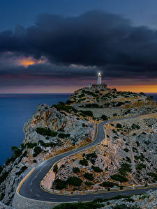 Wallpaper Spain Majorca Mallorca Sea Evening Lighthouses Roads Sonnenaufgang Nature