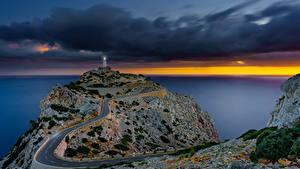 Bilder Spanien Mallorca Meer Abend Leuchtturm Straße Sonnenaufgang Natur