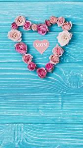 Hintergrundbilder Muttertag Herz Bretter Vorlage Grußkarte Blumen