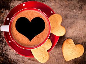 Bilder Kaffee Kekse Herz Tasse
