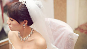 Fotos Schmuck Halskette Bräute Braunhaarige Ohrring junge frau