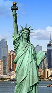Hintergrundbilder USA Gebäude Freiheitsstatue New York City