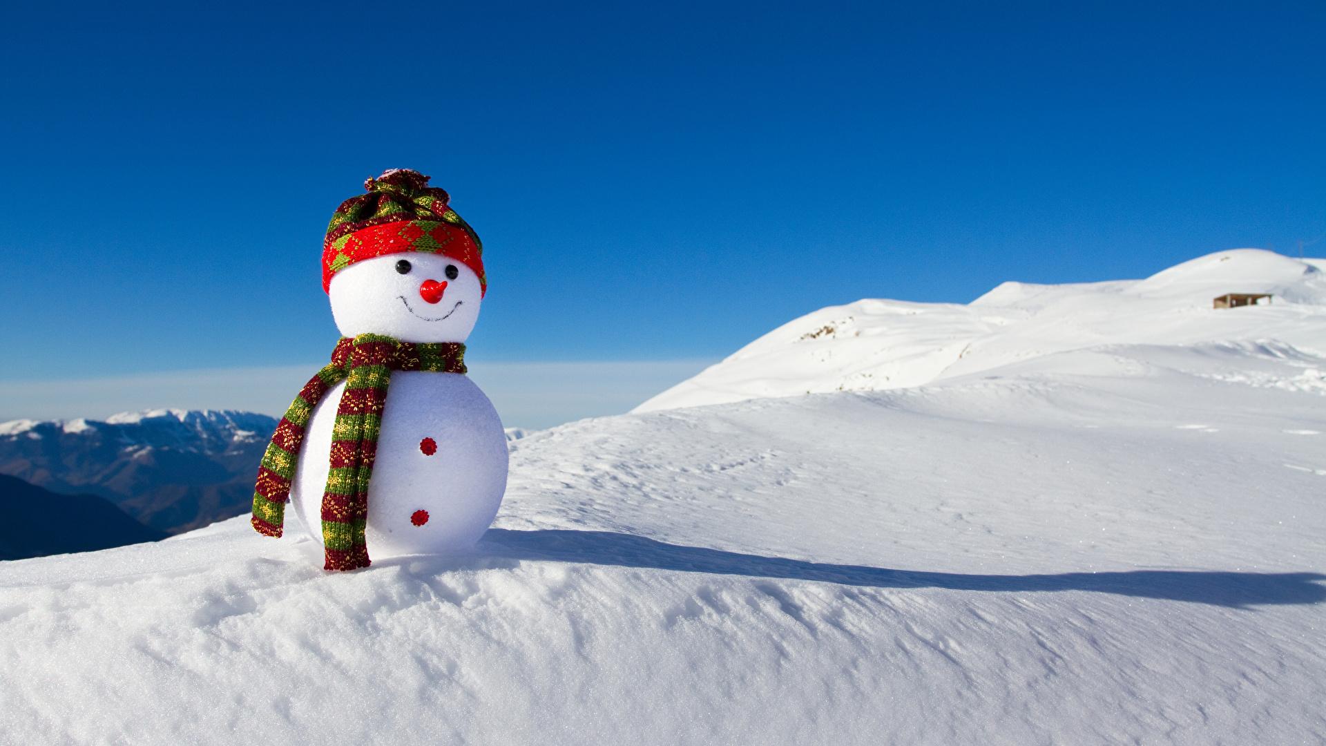 Wallpaper Scarf Winter Nature Winter Hat Snow Snowmen 1920x1080