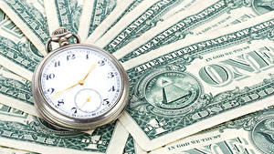 Bakgrundsbilder på skrivbordet Klocka Pengar Sedlar Dollarn Fickur