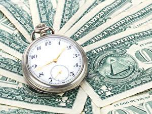 Bilder Uhr Geld Papiergeld Dollars Taschenuhr