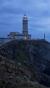 Fotos Spanien Küste Leuchtturm Abend Felsen Santander Cantabria Natur