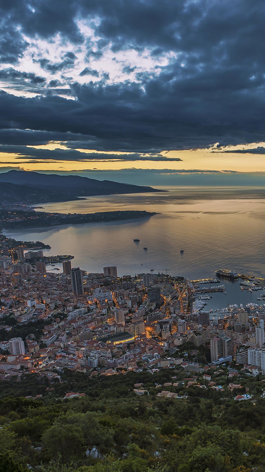 Bilder von Monaco La Condamine Abend Küste Wolke Städte Gebäude 1080x1920 für Handy Haus