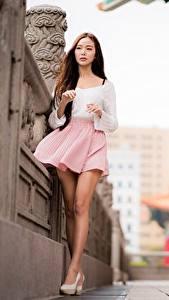 Bureaubladachtergronden Aziatisch Bokeh Benen Rok (kleding) Bruin haar vrouw Mooie jonge vrouw