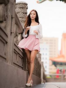 Pictures Asiatic Bokeh Legs Skirt Brown haired Beautiful young woman