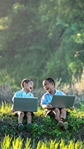 Wallpaper Asian Two Boys Laughter Sit Grass Laptops Children