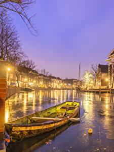 Fotos Niederlande Haus Boot Kanal Nacht Straßenlaterne Schiedam