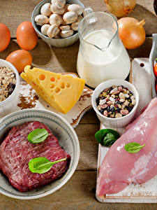 Picture Meat products Cheese Milk Vegetables Boards Eggs Food