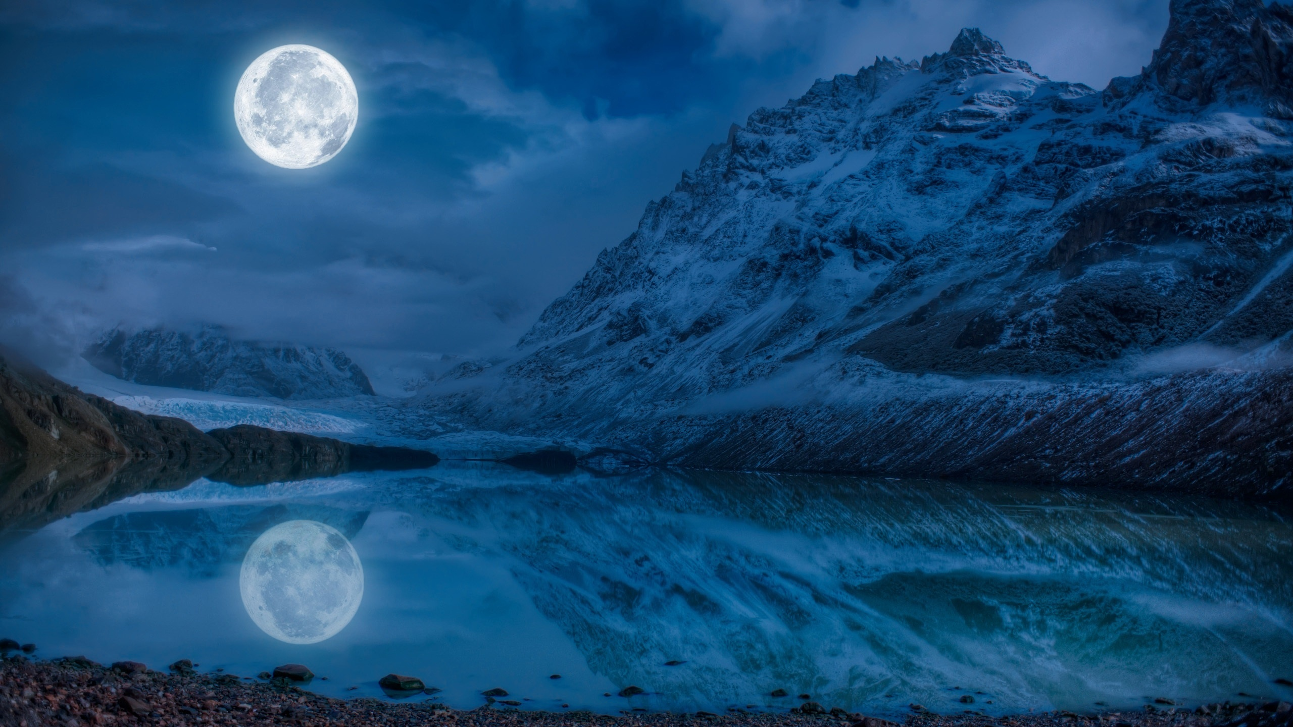 Pictures Nature Mountains Moon Lake Reflected Landscape