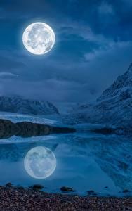Bilder Landschaftsfotografie Gebirge See Mond Nacht Spiegelung Spiegelbild