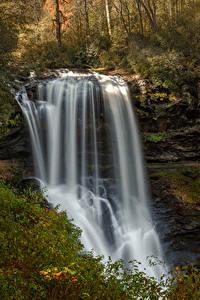Fotos Vereinigte Staaten Wasserfall Felsen Highlands North Carolina Natur