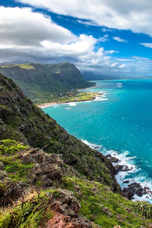 Desktop Wallpapers Hawaii Usa Crag Ocean Nature Sky Tropics