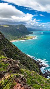 Bilder Tropen Landschaftsfotografie Küste Himmel Ozean Vereinigte Staaten Hawaii Wolke Felsen Natur