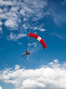Fotos Himmel Fallschirmspringen Wolke sportliches