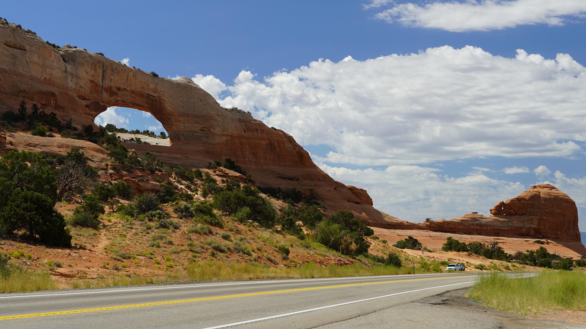 Photos USA Arch Bryce Canyon National Park, Utah Rock Nature Roads Parks 1920x1080 Crag Cliff park