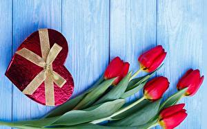Wallpapers Tulips Valentine's Day Heart Bow Wood planks Flowers