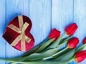 Papéis de parede Tulipas Dia dos Namorados Coração Laço Tábuas de madeira Flores