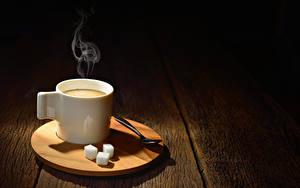 Picture Coffee Boards Cup Sugar Spoon Vapor