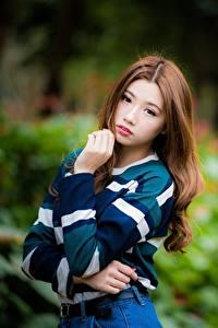 Fotos Asiaten Unscharfer Hintergrund Braune Haare Blick Hand Pose Mädchens