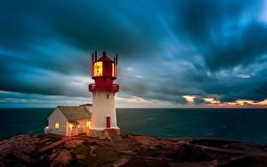 Fotos Meer Himmel Leuchtturm Norwegen Wolke Lindesnes Lighthouse, Skagerrak Strait Natur