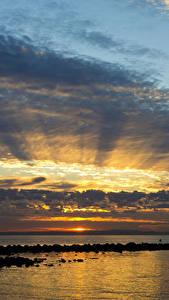 Wallpaper Australia Sea Sunrises and sunsets Sky Clouds Queensland Nature