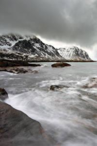 Hintergrundbilder Lofoten Norwegen Küste Winter Wasserwelle Gebirge Natur