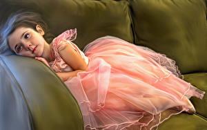 Fotos Gezeichnet Couch Kleid Kleine Mädchen Balerina Kinder