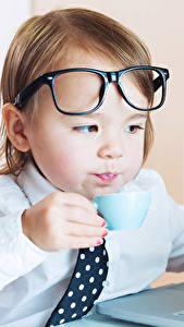 Bilder Junge Brille Tasse Notebook Kinder