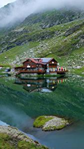 Images Romania Mountains Lake Building Moss Lake Balea Nature