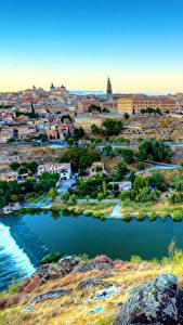 Hintergrundbilder Spanien Haus Flusse Toledo Städte