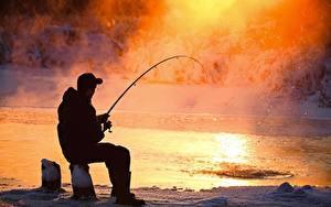 Fotos Fischerei Mann Sitzend Dampf