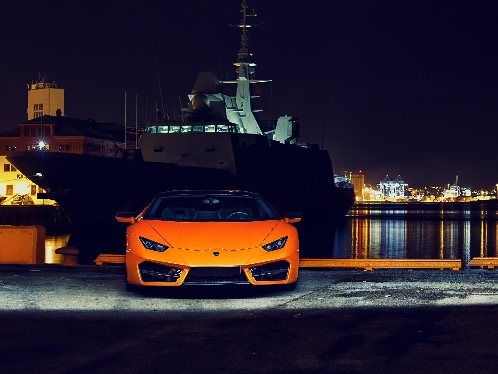 Bilder von Lamborghini Huracan 2016 LP 580-2 Orange Autos Nacht Vorne 1600x1200