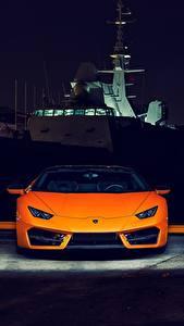 Fotos Lamborghini Vorne Orange Nacht Huracan 2016 LP 580-2 Autos